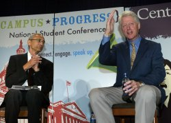 FORMER U.S. PRESIDENT BILL CLINTON SPEAKS AT A STUDENT CONFERENCE IN WAHSINGTON