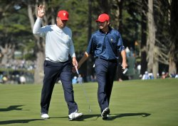 Sean O'Hair and Kenny Perry celebrate during the second round of the 2009 Presidents Cup in San Francisco