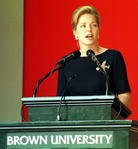 Queen Noor of Jordan addresses Brown University pre graduation ceremonies