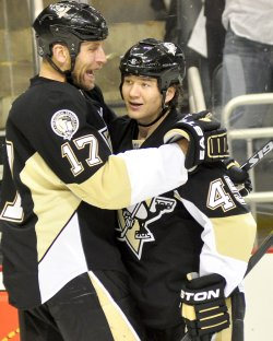 Pens Arron Asham Celebrates Goal in Pittsburgh