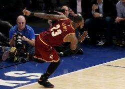 Cleveland Cavaliers LeBron James runs up court