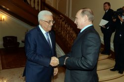 Russian President Vladimir Putin meets with Palestine President Mahmoud Abbas in Russia