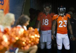 Broncos QB Manning Awaits First Home Game Introduction at Sports Authority Field at Mile High in Denver
