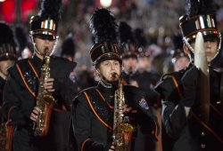 Members of the Cedarburg High School Marching Band perform in the 84th Annual Hollywood Christmas Parade in Los Angeles