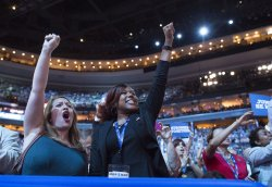 Delegates cheer at the DNC convention in Philadelphia