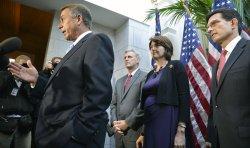 House Speaker John Boehner briefs press on ongoing negotiations on government shutdown