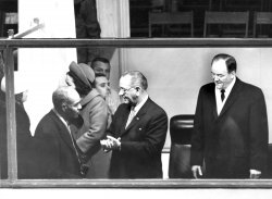 President Lyndon B. Johnson chats with Roy Wilkins of the NAACP