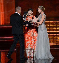 Kevin Costner, Ginnifer Goodwin and Emily VanCamp attend the 64th Primetime Emmy Awards in Los Angeles