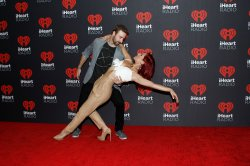 James Hinchcliffe and Sharna Burgess arrive for the iHeartRadio Music Festival