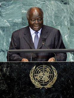 President of Kenya Mwai Kibaki at the 65th United Nations General Assembly at the UN in New York