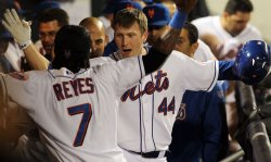 New York Mets Jose Reyes and Jason Bay react at Citi Field in New York