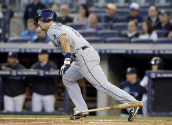 New York Yankees play the Tampa Bay Rays at Yankee Stadium in New York