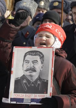 Russian communists rally to mark Defender of the Fatherland Day in Moscow
