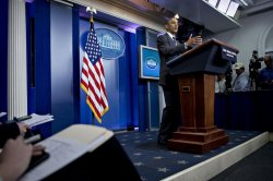 President Obama Speaks To College Journalism Students In The White House Briefing Room