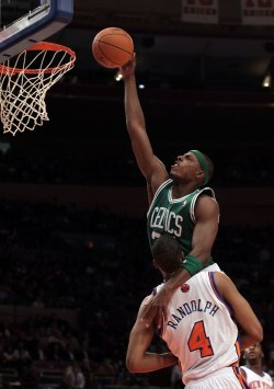 Boston Celtics Paul Pierce drives to the basket at Madison Square Garden in New York