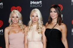 Emily Ferguson, Haley Ferguson and Ashley Iaconetti arrive for the iHeartRadio Music Festival