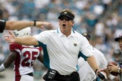 Jacksonville Jaguars head coach Jack Del Rio contests a call against Arizona Cardinals