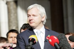 Julian Assange speaks to the media after losing extradition battle.