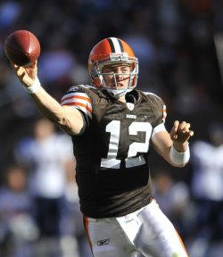 Browns Quarterback McCoy Throws a Pass in Cleveland