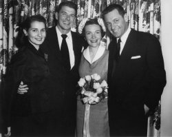 RONALD AND NANCY REAGAN WITH WILLIAM HOLDEN AND HIS WIFE BRENDA MARSHALL