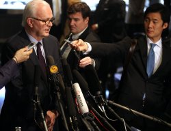 U.S. special envoy to North Korea Stephen Bosworth talks to the press in Beijing