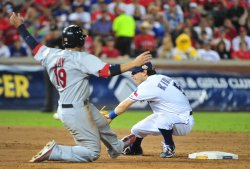 Cardinals John Jay is caught stealing in game 3 of the World Series in Texas