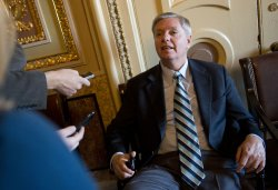 Sen. Graham talks to the media in Washington