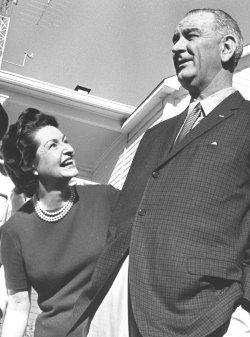 Lady Bird Johnson with her husband Lyndon Baines Johnson