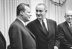 President Lyndon Baines Johnson poses with West German Foreign Minister Willy Brandt