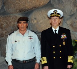 Chairman of the U.S. Joint Chiefs of Staff Admiral Michael Mullen attends a memorial ceremony at the Yad Vashem Holocaust Museum with Israel's Chief of Staff, Lt. General Gabi Ashkenazi