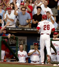 Philadelphia Phillies Chase Utley hits a home run at Citizens Bank Park