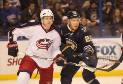 Columbus Blue Jackets Kevin Connauton and St. Louis Blues Paul Stastny