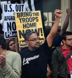 Protesters rally against Afghanistan war outside army recruiting station in Los Angeles