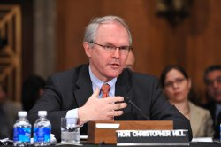 Christopher Hill Testifies During his Confirmation Hearing in Washington