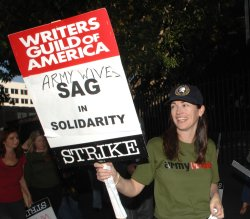 Actors join striking writers on the picket line in Los Angeles