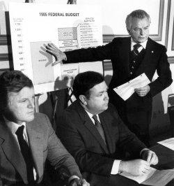 SENATORS EDWARD KENNEDY, DAVID BOREN AND ROBERT BYRD DISCUSSING THE BUDGET