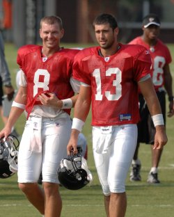 QUARTERBACK JOEY HARRINGTON WORKS OUT IN ATLANTA FALCONS TRAINING CAMP