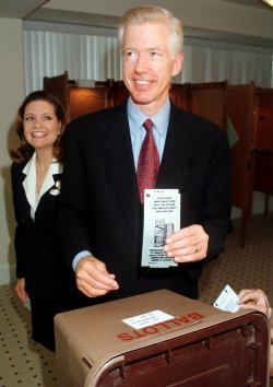 California Democratic gubernatorial candidate Gray Davis goes to the ballot box