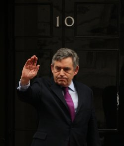 GORDON BROWN WAVES FAREWELL TO NICOLAS SARKOZY AT NO.10 DOWNING ST
