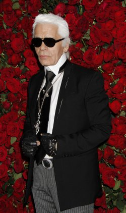 Karl Lagerfeld arrives for the Museum of Modern Art Film Benefit honoring Pedro Almodovar in New York