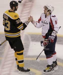 Capitals Ovechkin and Bruins Chara shake hands at TD Garden in Boston, MA.