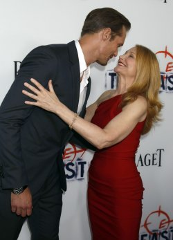 """Actor Alexander Skarsgard, left, and actress Patricia Clarkson attend """"The East"""" premiere in Los Angeles"""