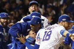 Chicago Cubs celebrate 5-0 win against Dodgers to advance to World Series after NLCS Game 6