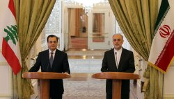 Iranian foreign minister holds a news conference with his Lebanese counterpart