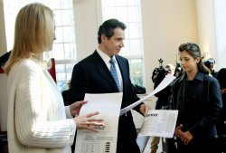 Gubernatorial candidate Andrew Cuomo votes in New Castle, in New York