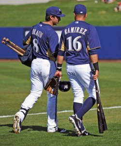 Braun and Ramirez leave the spring training game in Arizona