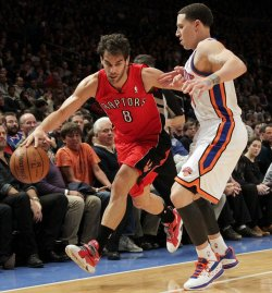 Toronto Raptors Jose Calderon drives by New York Knicks Mike Bibby at Madison Square Garden in New York