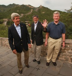 Kerrry, Lew and Baucus visit the Great Wall outside of Beijing