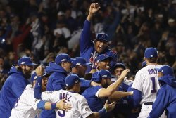 Chicago Cubs celebrate 5-0 win over Dodgers after NLCS Game 6 to advance to World Series