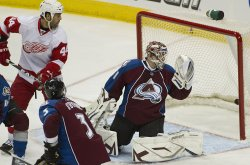 Red Wings Bertuzzi Watches Score Against the Avalanche Goalie Budaj in Denver